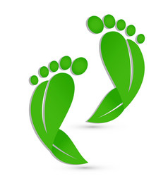 Green footprints medical pediatric icon vector