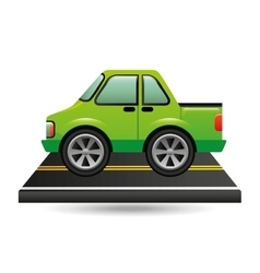 Green pick up truck on road vector