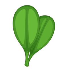 Green rounded leaves icon cartoon style vector