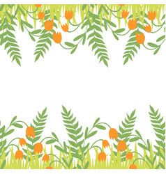 greeting card with seamless floral border perfect vector image