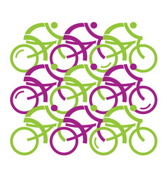 Group cyclists vector