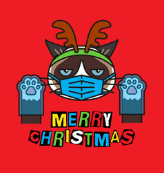 grumpy cat in costume christmas deer mask gloves vector image