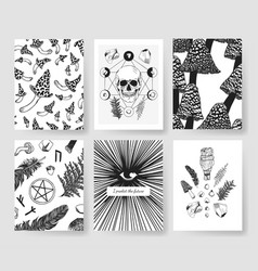 Hand drawn patterns brochures actual vector