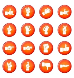 Hand gesture icons set vector