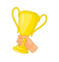 Hand holding gold trophy cup icon cartoon style vector