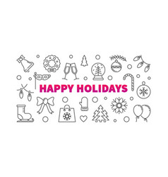 happy holidays line horizontal banner or vector image