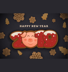 happy new year and merrt christmas greeting card vector image