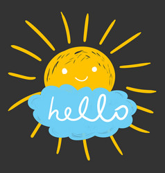 hello summer hand drawn chalk sun icons isolated vector image