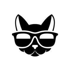 Hipster Cat Icon on White Background vector image vector image