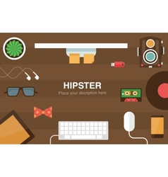 Hipster desk header vector