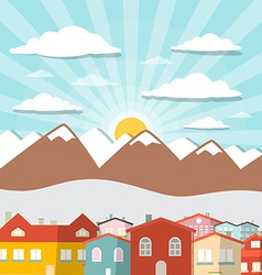 Houses - City Mountain Flat Design vector image