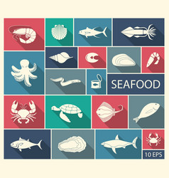 icons fish and seafood vector image