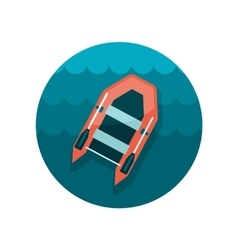 Inflatable boat flat icon vector image