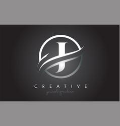 J letter logo design with circle steel swoosh vector