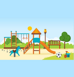 kids playground horizontal bars swings vector image
