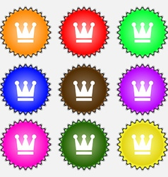 King Crown icon sign A set of nine different vector image