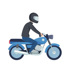 man biker male on sport motorcycle flat boy in vector image