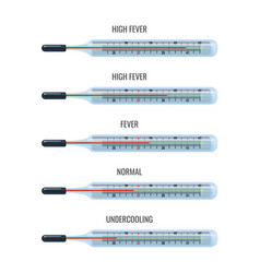 mercury thermometers showing high fever and normal vector image