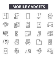 mobile gadgets line icons signs set vector image