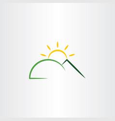 mountain sun sunset logo icon design element vector image