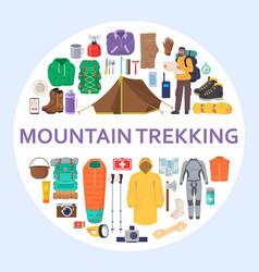 Mountain trekking equipment set flat vector