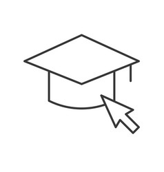 Mouse cursor arrow and square academic cap vector