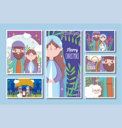 nativity happy merry christmas cards vector image