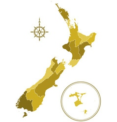 New Zealand silhouette map vector image
