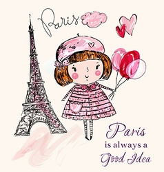 Paris with girl vector