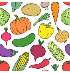 Pattern with hand drawn vegetables vector