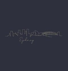 Pen line silhouette sydney dark blue vector