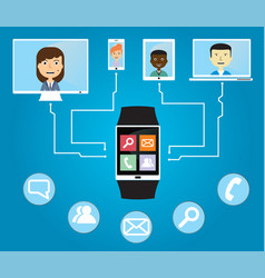 people communicate using a smart watch vector image