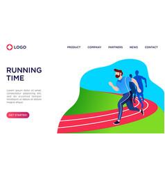 People running flat vector