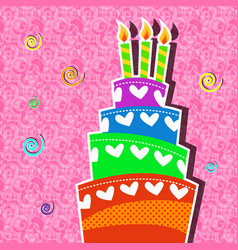 playful birthday cake with candle card vector image