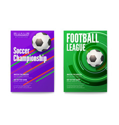 Posters of tournament football or soccer league vector