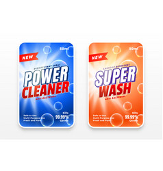 Power cleaner disinfectant wash labels set two vector