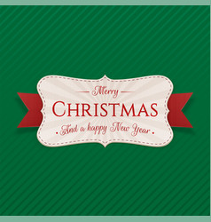 realistic decorative merry christmas tag vector image