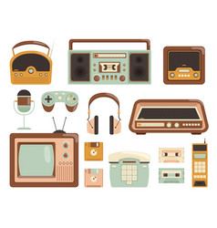 retro gadgets 80s electronic cassette recorder vector image