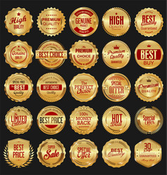 retro golden badge collection 3 vector image