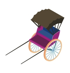 Rickshaw icon in cartoon style isolated on white vector