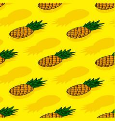 Seamless pattern ripe yellow pineapple vector