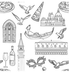 seamless pattern with venice landmarks vector image