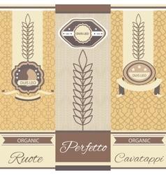 Set linear pasta italian cuisine flyers labels vector