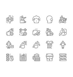 Set obesity and overweight line icons fat face vector