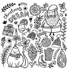 Set of cute hand-drawn christmas elements vector