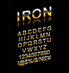 set silver metallic fonts vector image