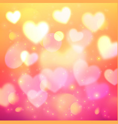 Shining bokeh effect hearts pink background vector image