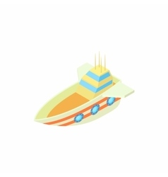 Ship with three illuminators icon cartoon style vector
