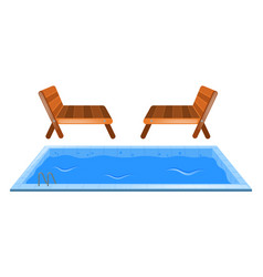 Small swimming pool and two seats vector