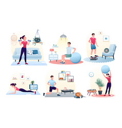 sport exercise at home set workout with ball vector image